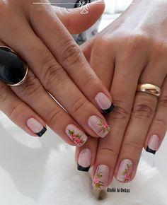 39 Ideias de Unhas decoradas com Rosas Fancy Nails, Cute Nails, Pretty Nails, Nail Manicure, Gel Nails, Nail Polish, Pink Nail Art, Pink Nails, Nails 2018