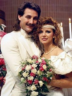 John and Martina McBride on their wedding day in the 80's -- and still married.