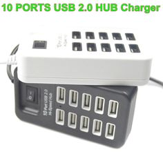 10 Port Hi-Speed USB 2.0 Charger with LED Lamp For PC Laptop Tablet For Macbook Computer Adapter For Mobile Phone