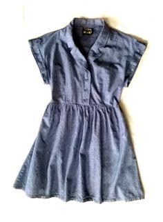 DEREK HEART CHAMBRAY BUTTON DOWN CAP SLEEVE COTTON MINI SHIRT DRESS M/L 10 12 14 #DerekHeart #ShirtDress #Casual