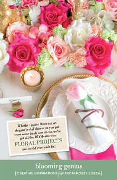 Hobby Lobby Project - Blooming Genius - Roses Pink Cream Floral Gifts Light Frame Monogram Gold Boouquet Tablescape Candle Card Tag Napkin 1099712 14-1471