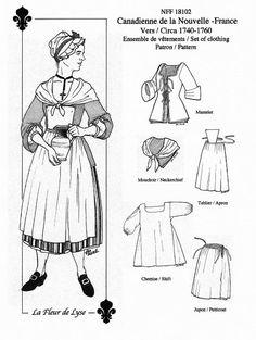 – Pattern for Women's Set of Clothing - century / Patron pour Ensemble pour fem 18th Century Dress, 18th Century Costume, 18th Century Clothing, 18th Century Fashion, 19th Century, Historical Costume, Historical Clothing, Batik Shirt, Chemise Fashion