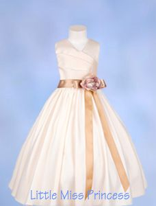 Bridal Satin Pleated Ivory Flower Girl Dress - Same fabric and 'slant' of neckline to match the bridesmaids.  I bet we can get the sash to match