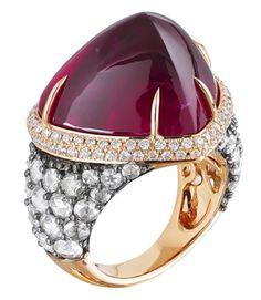 Miiori cabochon heart rubellite ring