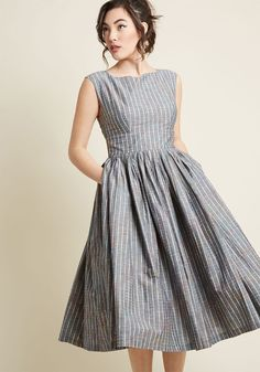 Fabulous Fit and Flare Dress with Pockets in Grey Plaid | ModCloth