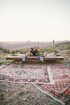 With rugs and wood tables like this??  Arizona desert wedding inspiration (100 Layer Cake)