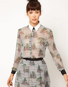 Antipodium Dearly Departed Blouse with Faux Leather Collar Detail