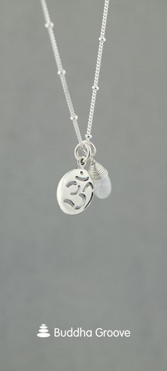 Artistic sterling silver necklace features a charming Om pendant and a healing moonstone drop bead. Om Necklace, Moonstone Necklace, Om Pendant, Seven Chakras, Om Symbol, Sacred Symbols, Spiritual Jewelry, Feminine Energy, Sterling Silver Necklaces
