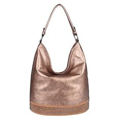 89480a652e9f8 DAMEN HAND-TASCHE SHOPPER Metallic Hobo-Bag Leder Optik Nieten  Schultertasche  EUR 29