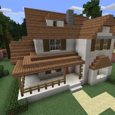Modern Wooden House 8 - GrabCraft - Your number one source for MineCraft buildin. - The Best of Minecraft Skins, Buildings and Houses Craft Minecraft, Modern Minecraft Houses, Minecraft House Plans, Minecraft Farm, Minecraft Mansion, Minecraft Houses Survival, Minecraft Cottage, Minecraft House Tutorials, Minecraft Houses Blueprints