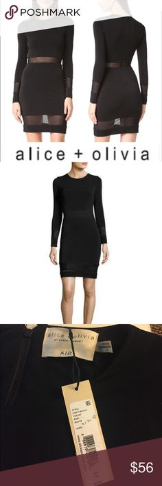 New ⚡️Alice + Olivia AIR Madie Long Sleeve Dress This sleek AIR by alice + olivia cocktail dress is trimmed with sheer mesh stripes at the waist and hem. Long sleeves and sheer mesh cuffs. Exposed back zip.  It is elastic woven material .  So it is fit  for size 6-10 or M Fabric: Slinky, textured jersey. Shell: 96% polyester/4% elastane. Trim: 84% nylon/16% elastane. Dry clean. Imported, China. Alice + Olivia Dresses Mini