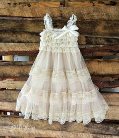 Lace Flower Girl Dress-Long Petti Lace Dress-Girls Birthday Dress- Flower Girl Dress- Shabby Chic dress