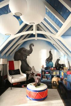 Gorgeous circus theme boy nursery. I wish I had the money and space to do something this amazing.