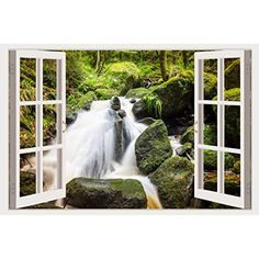 Huge Vinyl Sticker Wall Decal, White Window Frame Style Home Décor Art Removable Wall Mural, (wall decals waterfall -- Details can be found by clicking on the image. (This is an affiliate link) Removable Wall Murals, Wall Stickers Murals, Wall Decals, Waterfall, Windows, 3d, Link, Frame, Home Decor