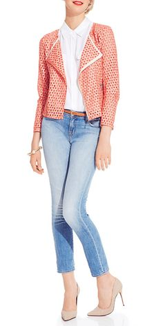 Red Patterned Jacket, White Blouse,   Faded Wash Jeans with a thin belt to accessorize!