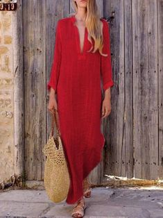 Women Gypsy Dresses Robe Long Sleeve V-Neck Ethnic Boho Cotton Linen Summer Beach Long Maxi Dress Size S Color Lblue Red Dress Casual, Dress Red, Casual Maxi Dresses, Simple Dress Casual, Casual Outfits, Casual Attire, Swag Dress, Women's Casual, The Cardigans
