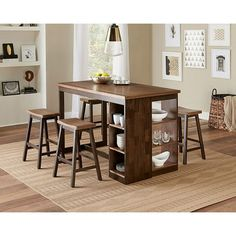 Cozy up to the Progressive Furniture Kenny 5 Piece Counter Height Storage Dining Table Set for breakfast, lunch, and dinner. This dining set. Kitchen Table With Storage, Small Kitchen Tables, Table Storage, Kitchen Dining, Small Kitchens, Small Tables, Pub Table Sets, Dining Room Sets, Large Furniture