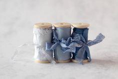 Hand dyed silk ribbon dark blue on wooden spool by SieDesigns #handdyed #silkribbon #handdyedsilkribbon #wedding #weddingstationery #weddingbouquets