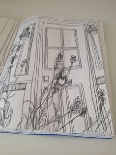 I drew the front door of Trevose Harbour House where I stayed with blowing lavender  in front. I think this is one of the best drawings in my sketchbook.