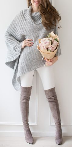 white and grey fall outfit : sweater + skinnies + over the knee boots