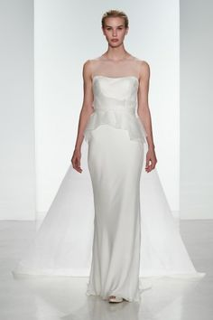 Alexa - Sleek fit and flare wedding gown with a delicate peplum and train by Amsale