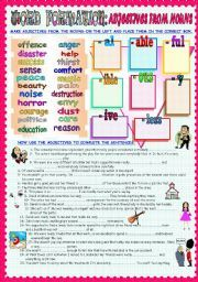 English worksheet: WORD FORMATION: ADJECTIVES FROM NOUNS