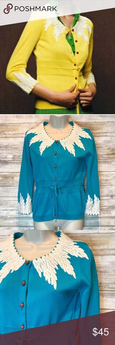 Moth Wisteria turquoise cardigan sz S Moth Anthropologie wisteria turquoise cardigan sz S  Excellent Condition Anthropologie Sweaters Cardigans