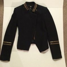 Jacket Black with Gold detail short jacket. Excellent condition! Worn once. H&M Jackets & Coats Blazers