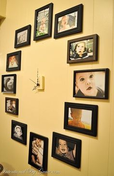 Love this! It's a wall clock made out of family photos.