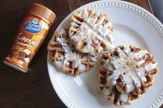 Caramel Cinnamon Roll Waffles: www.facebook.com/1finecookie Ingredients Packaged cinnamon rolls Kernel Season's Popcorn Seasoning caramel seasoning Cooking spray  Turn on a waffle iron. Once hot, spray with cooking spray. Place cinnamon rolls on iron. Sprinkle with caramel seasoning. Close iron until rolls are flattened and cooked. Remove from waffle iron and sprinkle on caramel seasoning. Drizzle with icing from package.  Inspired by…