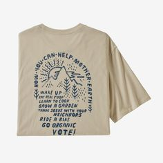 The Patagonia Men's How to Help Organic Cotton T-Shirt uses less water and creates less than a conventional cotton T-shirt. Tee Shirt Homme, Organic Cotton T Shirts, Textiles, Coton Biologique, Outdoor Outfit, Couture, Look Cool, Patagonia, Cool Outfits