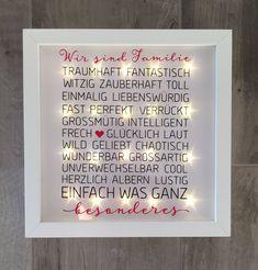 """beleuchteter Bilderrahmen mit Spruch """"Familie"""", LED Rahmen, Wanddeko von JonapWohnmanufaktur auf Etsy"""