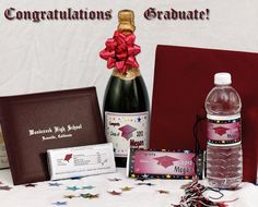 Graduation favors. Express Your Graduation Message with Personalized Bottle Labels and Candy Bar Wrappers from www.customfavors.com