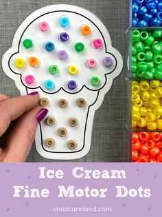 Ice cream fine motor dots for developing fine motor skills. Early Learning Activities, Preschool Lessons, Classroom Activities, Kids Board, Letter I, Food Themes, Working With Children, Fine Motor Skills, Autism