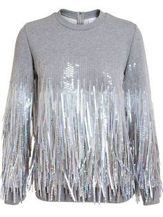 Shop a great range of women's designer knitwear online now at Farfetch. Discover over 2000 top designers for the latest womens knitwear Embroidery Fashion, Couture, Brown Fashion, Grey Sweatshirt, Fashion Outfits, Womens Fashion, Mantel, Cute Outfits, Sequins