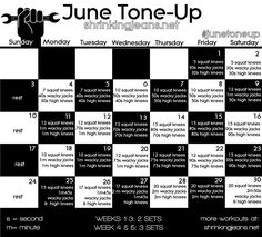 June Tone-Up... Daily Exercises to Get You Looking Your Best! Printable schedule!