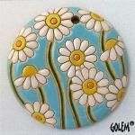 Big round-light blue Pottery Painting, Ceramic Painting, Stone Painting, Ceramic Art, Ceramic Pendant, Clay Design, Ceramic Flowers, Pottery Mugs, Air Dry Clay