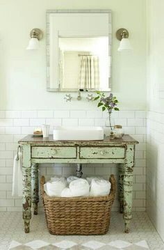 Custom Vanity Distressed with Stained Top Related Post 16 cozy rustic bathroom ideas to warm you up this . Indescribable Attic Storage Clothes Ideas Among all of the materials in the bathroom usually. 32 small bathroom design ideas for every taste Baños Shabby Chic, Cocina Shabby Chic, Muebles Shabby Chic, Shabby Chic Bedrooms, Shabby Chic Kitchen, Shabby Chic Homes, Shabby Chic Furniture, Vintage Furniture, Distressed Furniture