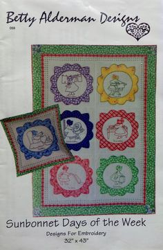 Betty Alderman Designs SUNBONNET DAYS of the WEEK For Emboridery - Sunbonnet Sue Style Quilt Quilter Pattern Template