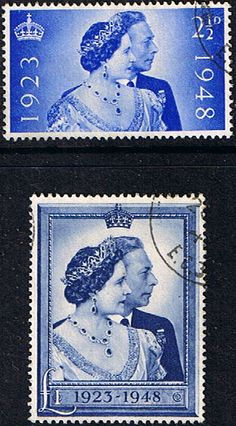 Great Britain King George VI 1948 Royal Silver Wedding Set Good Used SG 493 4 Scott 267 8 Other British Stamps HERE