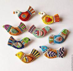 """Броши ручной работы. Ярмарка Мастеров - ручная работа. Купить Керамические броши """"Птички"""". Handmade. Комбинированный, птица, птичка, птички"""