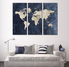 Own this amazing blue world map wall canvas today we will ship the canvas for free. This is the perfect center piece for your home. It is easy to assemble and hang the panels together which makes this a great gift for your love ones.  This painting is printed not handpainted and is ready to hang! We have 3 options for this canvas -- size 1: (35cmx70cmx3PCS)  size 2: (40cmx80cmx3PCS)  size 3: (45cmx90cmx3PCS) Limited quantities left. www.octotreasures.com