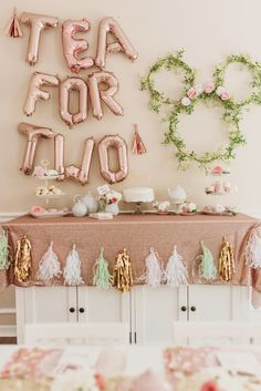 rose gold tea for two balloons and Minnie Mouse ring wreath with tea party decor. rose gold tea for two balloons and Minnie Mouse ring wreath with tea party decorations of a blush t 2nd Birthday Party For Girl, Second Birthday Ideas, Girls Tea Party, Girl Birthday Themes, Gold Birthday, Birthday Decor For Him, Birthday Ideas For Adults, Toddler Tea Party, Mickey Birthday