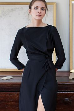 Closing Wrap Dress - Black Silk | Emerson Fry