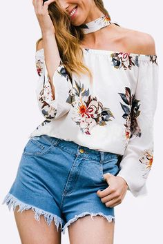 White Sexy Random Floral Print Off Shoulder Bell Sleeves Blouse