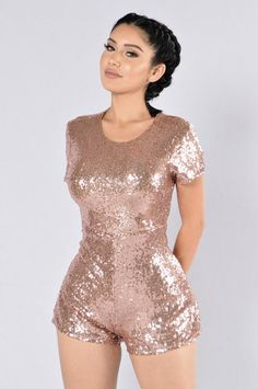 - Available in Rose Gold - Sequin Romper - Crew Neck - Mini Romper - Back Lined Zipper - 100% Polyester