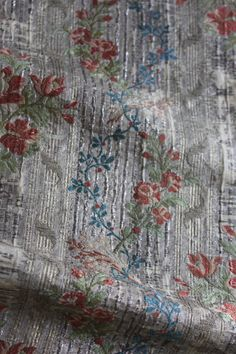 18th century French Floral Silk Brocade Silver Roses by Trouvais