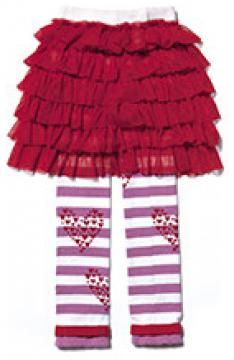 The ultimate Valentines set! Luna Leggings Footless Organic Cotton Tights with attched Tutu
