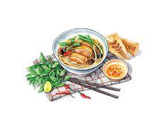 Food art by lerin_illustration Food Doodles, Pinterest Instagram, Vietnamese Recipes, Vietnamese Food, Food Sketch, Watercolor Food, Food Painting, Art Anime, Food Drawing