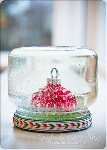 DIY snow globe!  The web site is in Swedish but it's not too hard to figure out how to do this.